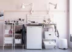 IKEA offers smart and small compact kitchen units, such as SUNNERSTA kitchen in white stainless steel. If you're looking for kitchen design ideas and want a kitchen on a budget, IKEA has a wide range of kitchen furniture and kitchen accessories.