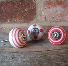 Hand Painted Red Ceramic Door Knob by Pushka Furniture Knobs, Cool Furniture, Painted Furniture, Cupboard Door Knobs, Drawer Knobs, Ceramic Door Knobs, Big Girl Rooms, Different Patterns, Girl Nursery