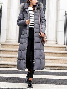 Women's Puffer Coats, Long Puffer Coat, Long Hooded Coat, Hooded Coats, Long Winter Coats, Long Coats, Long Down Coat, Women's Coats, Black