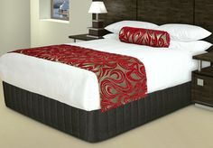 "Vogue Style Runner and Bolster Cushion - ""Diva"" Red/Silver"