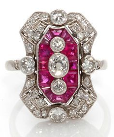 An art deco ruby and diamond ring, French, circa 1925; featuring calibré-