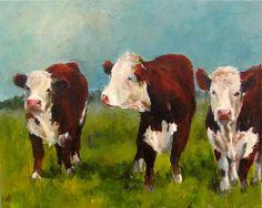 Vache peinture-Herefords dans l'après-midi  par ArtPaperGarden