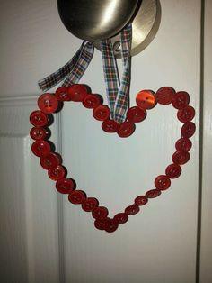 button art heart christmas tree decoration / door hanger  xx