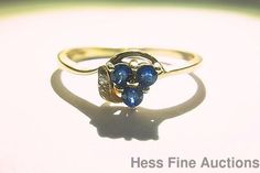 NEW 14K Gold Natural Sapphire 3 Stone Genuine Diamond Accent Size 6.5 Ring