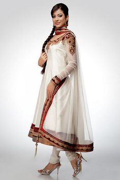 White Net Anarkali With Velvet Patch Work : Online Shopping, - Shop for great products from India with discounts and offers, Indian Clothes and Jewelry Online Shop