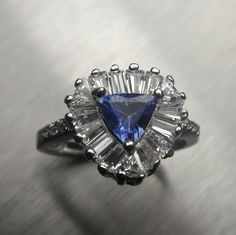 Natural Purple blue Tanzanite trillion ring Sterling 925 by EVGAD, £49.99