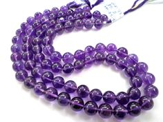 Amethyst (African) Smooth Round (Quality AA) / 8.50 to 9.00 mm / 37 to 39 Grms / 36 cm / AMET-043 by GemstoneWholesaler on Etsy
