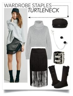 """Wardrobe Staple: The Turtleneck (cropped & fringed)"" by cueyouin ❤ liked on Polyvore featuring Free People, Dion Lee, H&M, Bearpaw, San Diego Hat Co., Lanvin and trendyturtleneck"