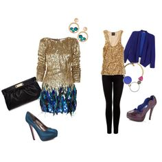 I LOVE the peacock style dress! I'd rock some feather earrings with this look.