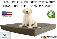 "Extra Large Dog Beds - XL Orthopedic Memory Foam Pet Bed - 40"" X 35"" X 4"" 100..."
