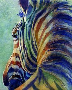 Watercolor Zebra Painting   Print of my watercolor painting Zebra on Alert