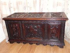 Fabulous Oak Coffer with Medieval Carvings £1250