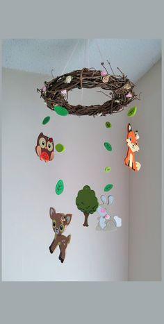 Boho woodland baby shower nursery art deer woodland girl for Woodland animals nursery mobile