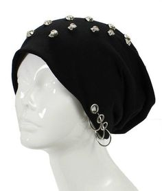 64715493d25 Unisex Goth Skull Studs Grommet Silver Ring Accent Beanie Hat - GoGetGlam -  1 Visual Kei