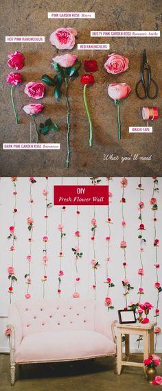 Pared de flores para espacio fotográfico / http://greenweddingshoes.com/