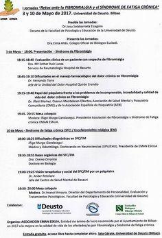 """I Jornadas  """"Retos ante la FIBROMIALGIA y el SÍNDROME DE FATIGA CRÓNICA"""" 3 y 10 de Mayo de 2017 Universidad de Deusto"""