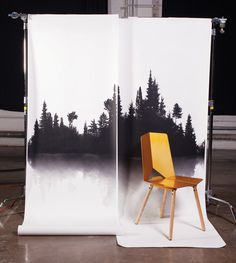 Trove wallpaper gives a north woods backdrop for this Anode chair, designed by John Dixon. Photo by TJ Turner