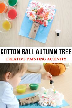 This Cotton Ball Autumn Tree craft is a fun one for sure. Kids love using droppers and for this craft their coloring in the cotton ball tree using droppers! Craft Activities For Toddlers, Thanksgiving Crafts For Toddlers, Halloween Crafts For Toddlers, Autumn Activities For Kids, Toddler Crafts, Kids Crafts, Toddler Play, Motor Activities, Creative Activities