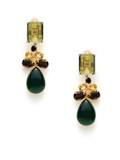 Green Amethyst, Smokey Topaz, & Green Quartz Convertible Drop Earrings by Bounkit on Gilt
