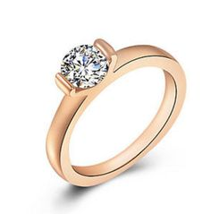 Rose Gold Engagement Ring Solitaire Cubic Zirconia Size 6 7 8 9 USA Seller #Unbranded #Cocktail