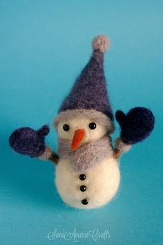 OOAK Needle felted Christmas ornament decoration snowman made by SaniAmani