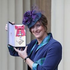 Dame Katherine Grainger with her Dame Commander award  after an Investiture at Buckingham Palace