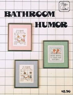 Bathroom Humor Counted Cross Stitch Embroidery Craft Pattern Leaflet
