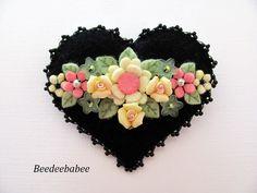 Felt Heart Brooch / Felt Heart Pin by Beedeebabee on Etsy, $30.00