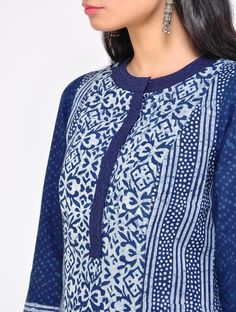 Buy Indigo Parallel Cotton Kurta Online at Jaypore.com