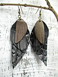 Long Black Leather Earrings Leather Feathers by elrinconcitodezivi
