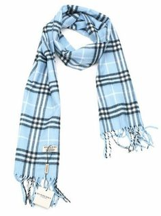 498134226ad1 Burberry Blue Light Pastel Blue Cashmere Nova Check Scarf Wrap off retail
