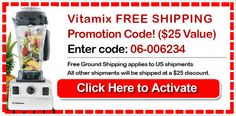 Save this page to grab your Vitamix Promotion Code when you decide to go with best blender...
