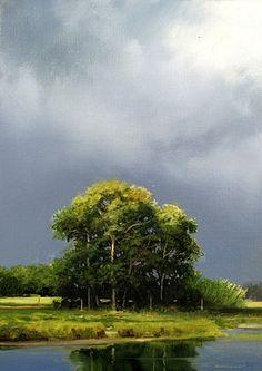 """""""Illuminated Meadow"""" #FineArt by artist Renato Muccillo. Oil on panel. #Landscape #Art"""
