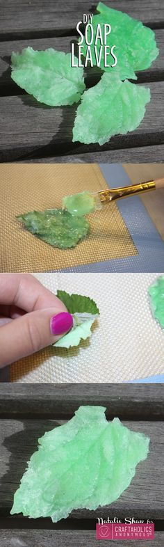 Make some fancy soap leaves for hand-washing fun!Make some fancy soap leaves for hand-washing fun! Diy Soap Leaves, Savon Soap, Diy Organizer, Soap Making Supplies, Homemade Soap Recipes, Soap Packaging, Cold Process Soap, Cool Diy, Fun Diy