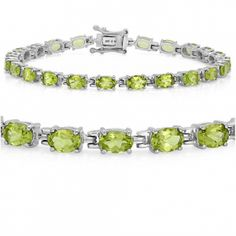 11ct tgw  7 1/2 inch Peridot Tennis Bracelet set in Sterling Silver. 11 plus carats of peridot set in sterling silver, measuring 7 1/2 inches. The birthstone for august in this lovely silver bracelet 11 plus carats of peridot 7 1/2 inches Long Stones measure 6 x 5 mm .925  Sterling Silver Sterling Silver