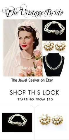 """""""The Vintage Bride - Classic Pearls"""" by thejewelseeker-1 ❤ liked on Polyvore featuring Trifari, modern and vintage"""