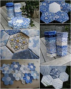 Blue and white hexagons but could be red and white.  Fun.