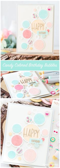 I'm taking another look at the Simon Says Stamp September Card Kit today with these candy colored bubbles inspired by My Mind's Eye Puffy Stickers. I've linked all supplies at the end of this post. Co