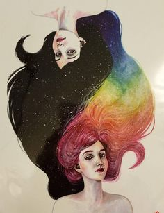 Super cute temporary tattoo of 2 ladies one with long black hair and the other lady has rainbow long hair, and very colorful.. ... this tattoo would be great for anyone who is a cat parent such as myself and nice for any event, festival or any time use just to show off you cute tat...
