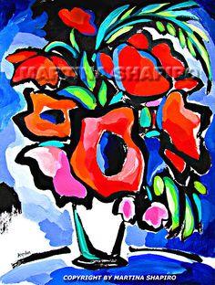 Abstract Red Poppies original acrylic painting contemporary still life art by artist Martina Shapiro