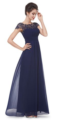 Navy Blue Lacey Evening Dress HE09993NB