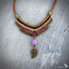 macrame necklace, handcrafted, leather cord necklace, amethyst bead, metal beads