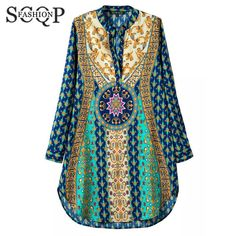 SCQP Blue Printed Women Summer Dresses V neck Long Sleeve Loose Ladies Plus Size Dress Summer Chiffon Casual Vestidos Mujer