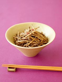Kinpira Gobo - chopped burdock root (and sometimes carrot) cooked in sugar and soy sauce.