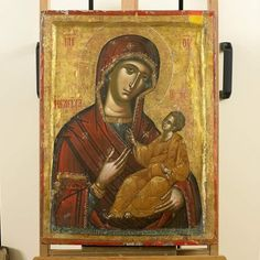 century Russian icon, hand painted wood, of Virgin and Child, with export label Byzantine Icons, Byzantine Art, Religious Icons, Religious Art, Greek Icons, Christian World, Russian Icons, Religious Paintings, Best Icons