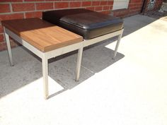 Mid Century Modern Black Vinyl & Formica Chrome BENCH Table FREE SHIP