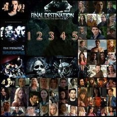 Final Destination 1 2 3 4 5, Cast, Characters, Ali Larter, Clear Rivers, Ryan Merriman, Kevin Fischer, Nicholas D'Agosto, Sam Lawton, A.J. Cook, Kimberly Corman, Bobby Campo, Nick O'Bannon, Mary Elizabeth Winstead, Wendy Christensen, Kerr Smith, Carter Horton, Amanda Detmer, Terry Chaney, Devon Sawa, Alex Browning, Seann William Scott, Billy Hitchcock, Kristen Cloke, Valerie Lewton, Chad E. Donella, Tod Waggner, Tony Todd, William Bludworth, Michael Landes, Thomas Burke, Shaun Sipos, Frankie…