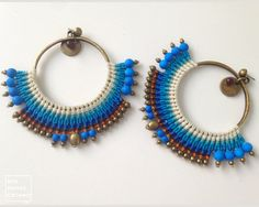 Huge Statement Macrame Earrings . white blue by RitaPratesCaetano