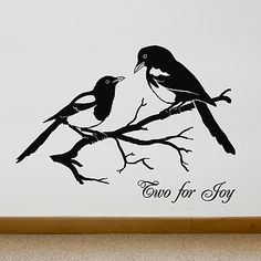 Magpies 'Two For Joy' Vinyl Wall Sticker by Oakdene Designs, the perfect gift for Explore more unique gifts in our curated marketplace. Magpie Tattoo, Foot Tattoos, Tatoos, Wall Stickers Australia, Raven Bird, Diy Wall Stickers, Wall Decals, Raven Tattoo, Bird Drawings