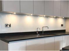 glass-splashbacks-photos Glass Splashbacks, Glass Suppliers, Hygge Home, Shower Screen, New Kitchen, Track Lighting, Sink, Ceiling Lights, Mirror